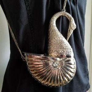 Vintage Swan Nautilus Shell purse silver metal bag